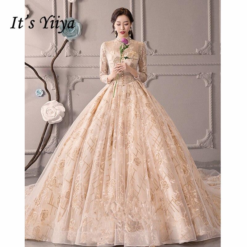 C'est YiiYa robe de mariée perles faux boutons Champagne robes de mariée à manches longues or broderie dos nu robes de mariée G030