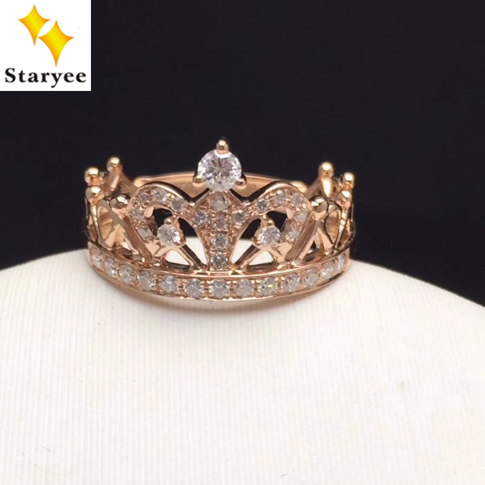 Staryee Queen Princess Crown Rings For Women Real 18k Rose Gold Tiaria Necklace Italiano 30 Kalung Emas Wanita Engagement Band Jewelry Natural Diamonds 029ct Vs G Au750 Stamp In From