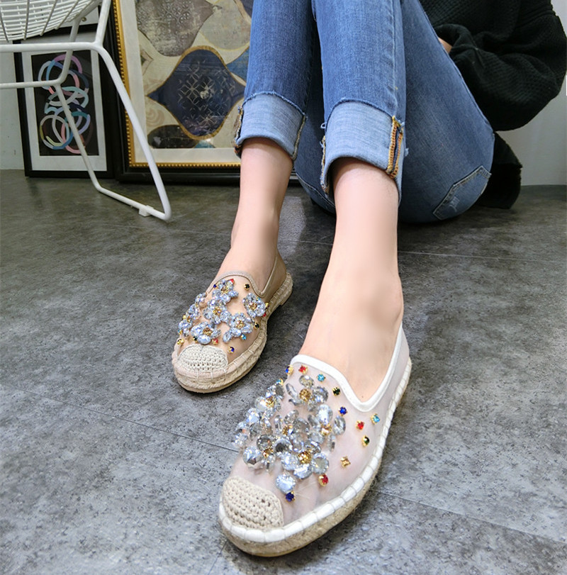 Kvinnor Casual Shoes Mode Rhinestone Women Shoes Mjuk Slip On Loafers - Damskor - Foto 2