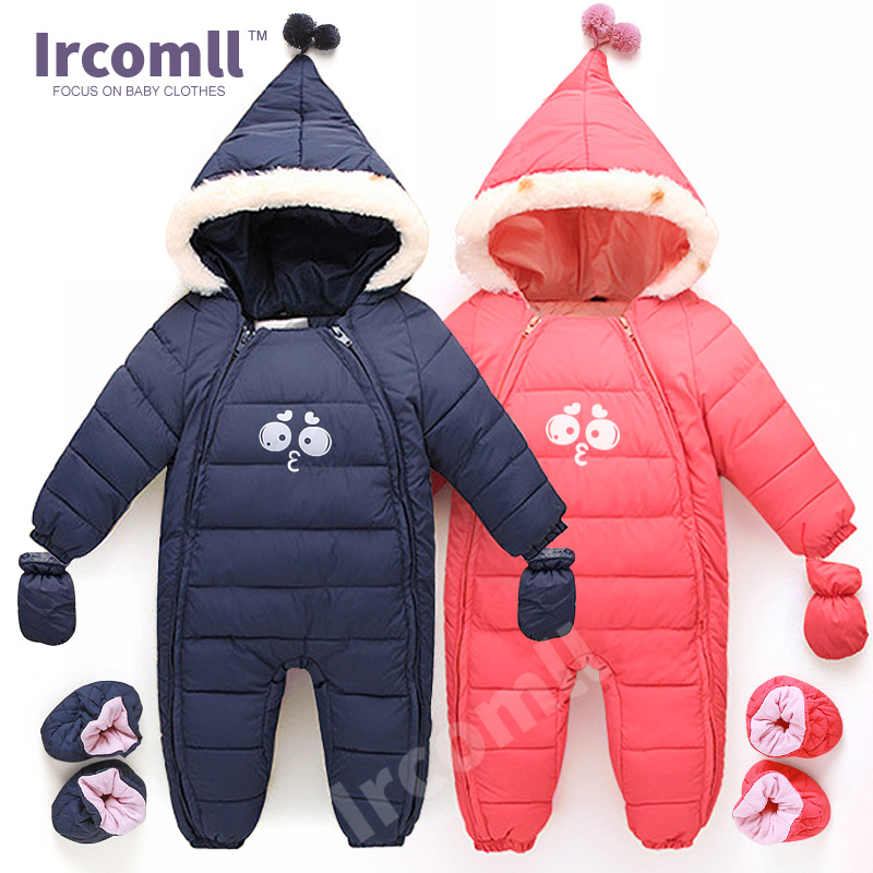 Down Cotton font b Baby b font Rompers Winter Thick Boys Costume Girls Warm Infant Snowsuit