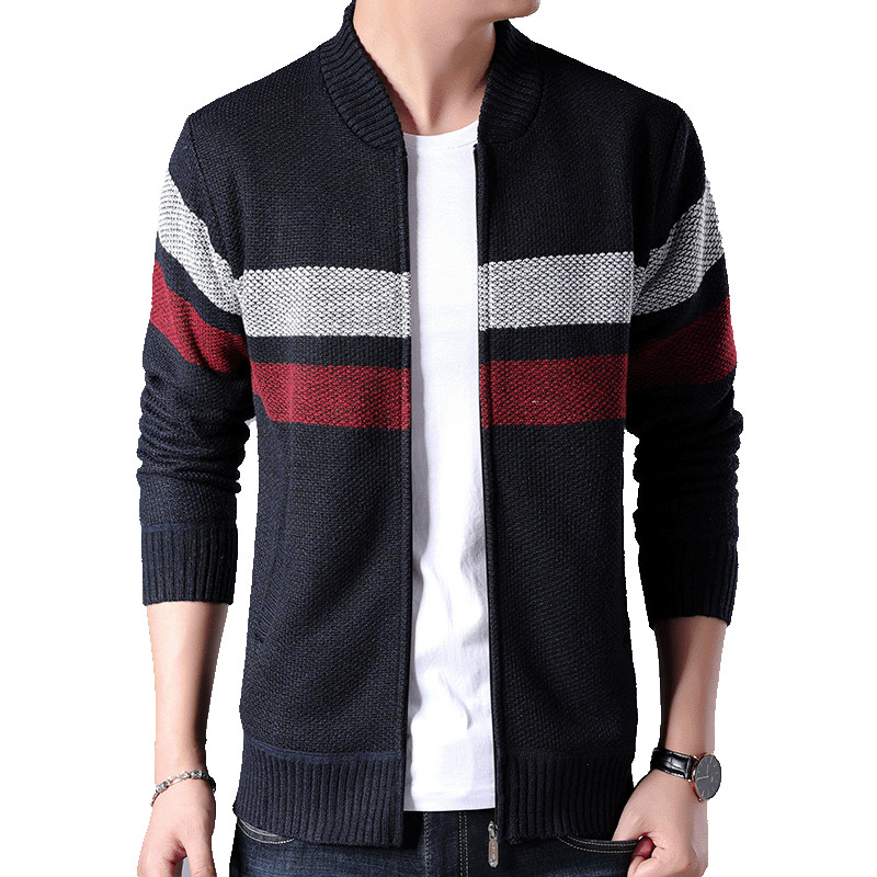 Men's Stitching Bomber jacket Style 2019 Autumn Winter New Striped Thicken Outwear Warm Coat Casual Cardigans knit jackets male(China)