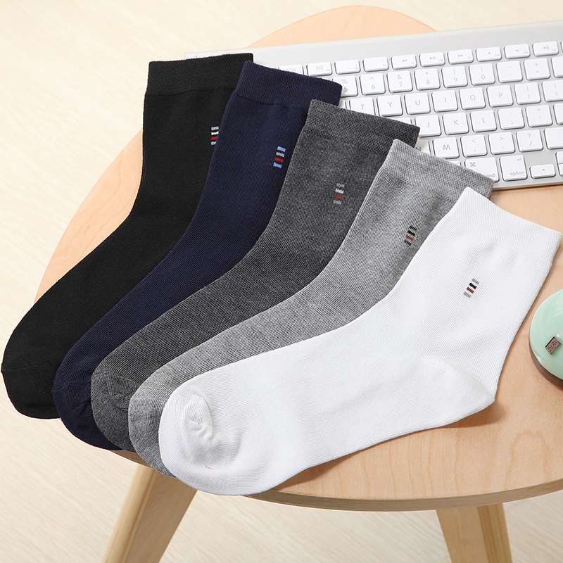 5 Pairs Cotton Blend Business Socks Men Fashion Casual Spring and Autumn Business Dress Solid Colored Crew Socks for Man