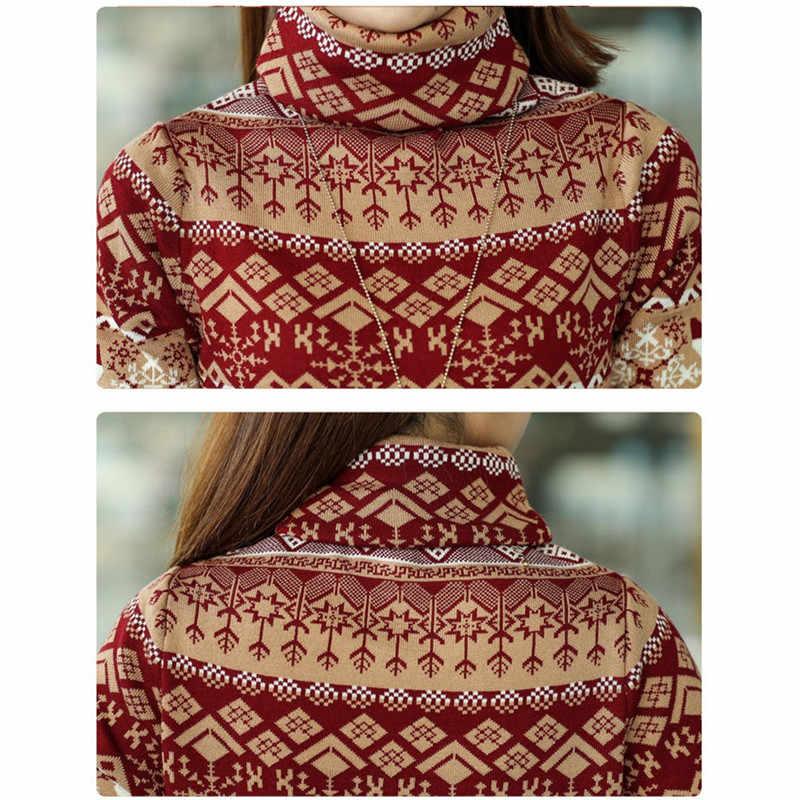 2019 가을/겨울 여성용 터틀넥 풀오버 스웨터 한국 중형 웜 스웨터 코트 숙녀 니트 셔츠 플러스 사이즈 3xl