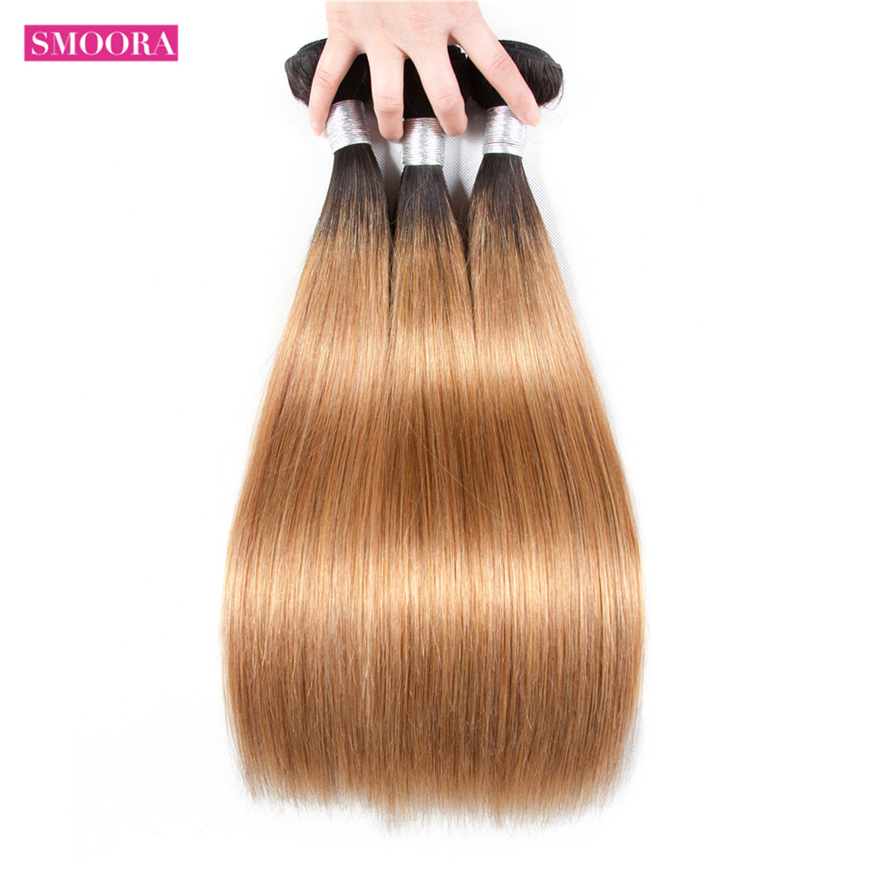 Smoora Hair Ombre Brazilian Straight Weave 3 Bundles Deal Two Tone Natural Black Roots Blonde 1b/27 Ombre Hair Bundles Non Remy