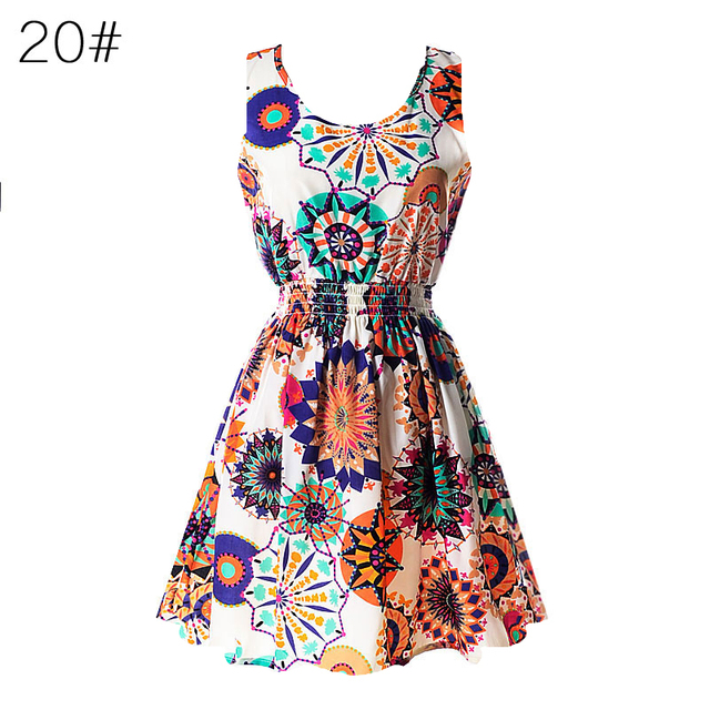 S M L XL XXL XXXL 2016 Summer Women Casual Bohemian Floral Sundress Printed Sleeveless Beach Chiffon Dress