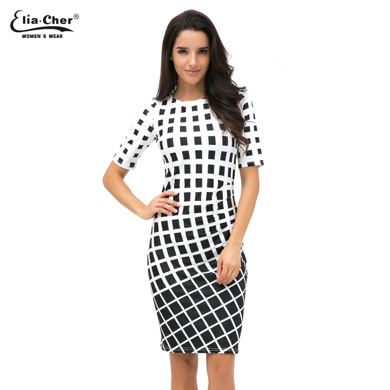 Geometric Dress Tunic  Womens Clothing Plus Size Spring OL Dresses For Work Fashion Black White Dress Vestidos 8622