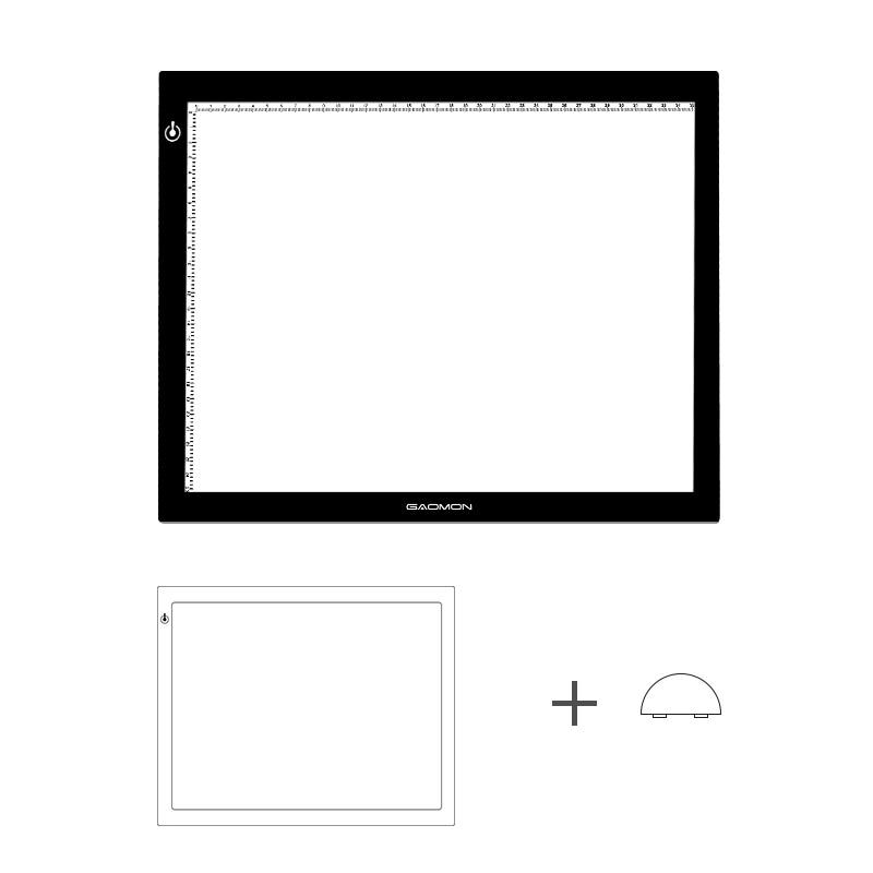 GAOMON lumière LED De GB4 Ultra-mince Micro USB de Traçage de caisson Lumineux De Panneau pour le Dessin et la Copie avec Tampon Noir Rondelle