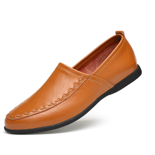 Online Shop Clax Men s Leather Boat Shoes 2018 Spring Summer Black ... 01a30c13adea