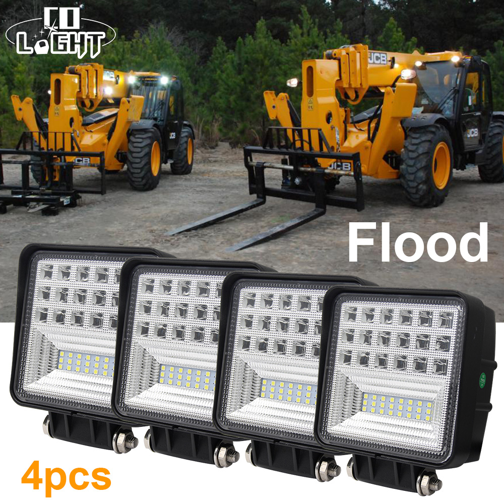 CO LIGHT 1 Pack 12V Led Work Light 4.3 Inch 6500K Flood 63W 9-32V DC for Off Road Lada Niva Toyota Ford Trailer Bus Tractor diy 10w 6000 6500k 800 900lm white light 9 led module dc 9 11v 3 pack