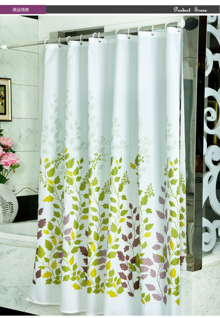 Polyester Shower Curtain Green Leaves Shower Curtain Sinker Hook ...