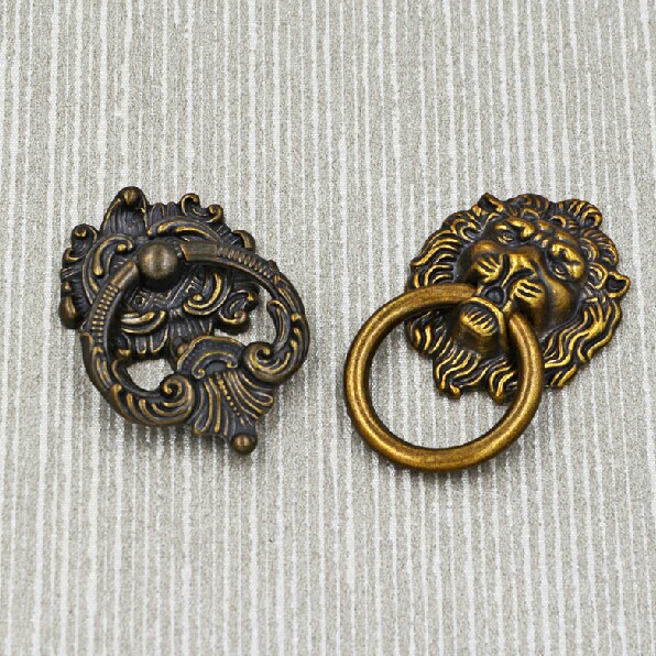 Bronze Drawer Kitchen Cabinet Handle Lionhead Vintage  Zinc Alloy Dresser Wardrobe Cupboard Furniture Handles Pulls Knobs 119
