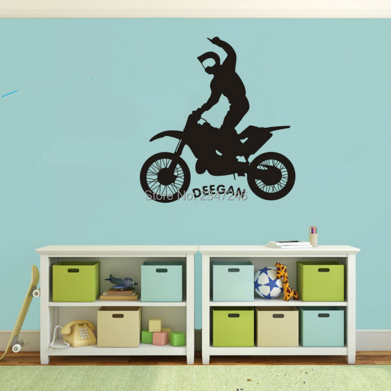 Motocycle Customaid Name Wall Decal Extreme Sports Vinyl Stickers Dirt Bike  Wall Mural Art For Wall Decor Boys Bedroom In Wall Stickers From Home U0026  Garden ... Part 18