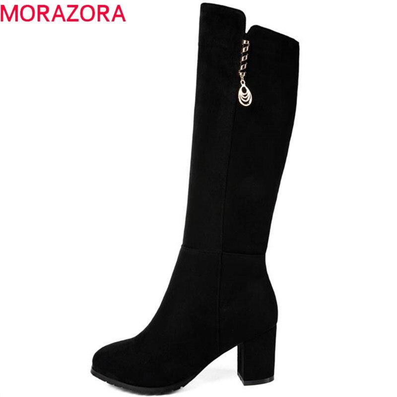 цена на MORAZORA 2018 new arrive knee high boots women round toe autumn winter boots simple zipper fashion high heels boots shoes woman