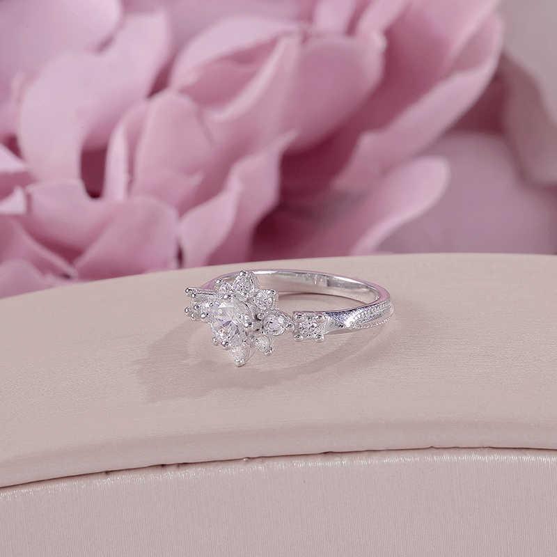 แหวนผู้หญิงเครื่องประดับ Fine 100% S925 Silver Flower Cubic Zirconia สีขาวสีคู่แหวนเจ้าสาวแต่งงาน Anillos Mujer