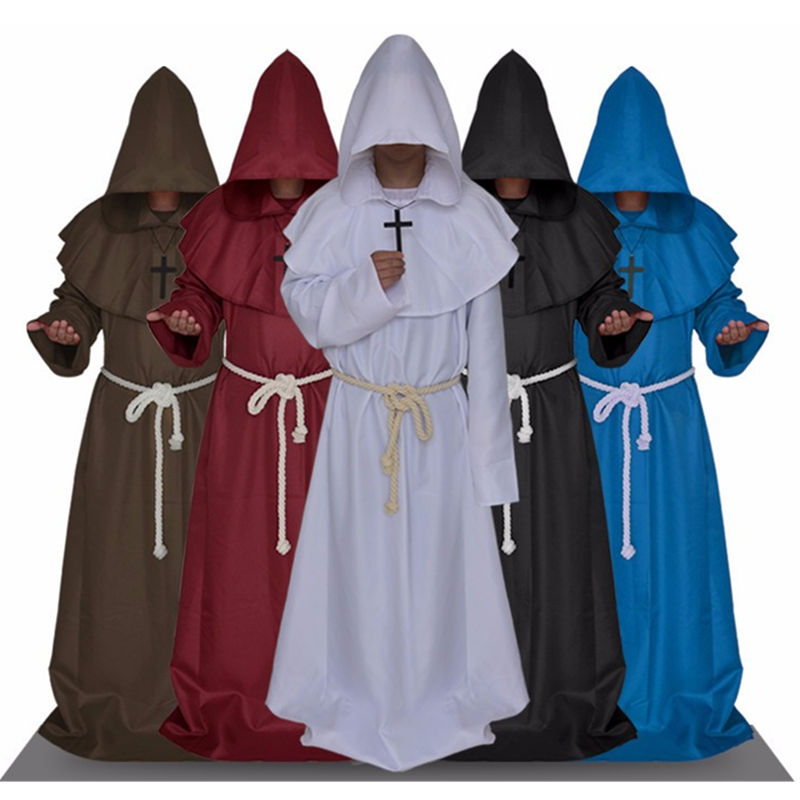 Halloween Monk Hooded Robes Cloak Cape Friar Medieval Renaissance Priest Unisex Cosplay Costume suit for christmas and party