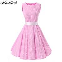 Kostlish Cotton Summer Dress Women 2017 Hepburn 50s Style Belt Tunic Vintage Dress Polka Dot Pink