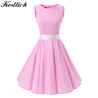 Kostlish Cotton Summer Dress Women 2017 Hepburn 50s Style Belt Tunic Vintage Dress Polka Dot Pink