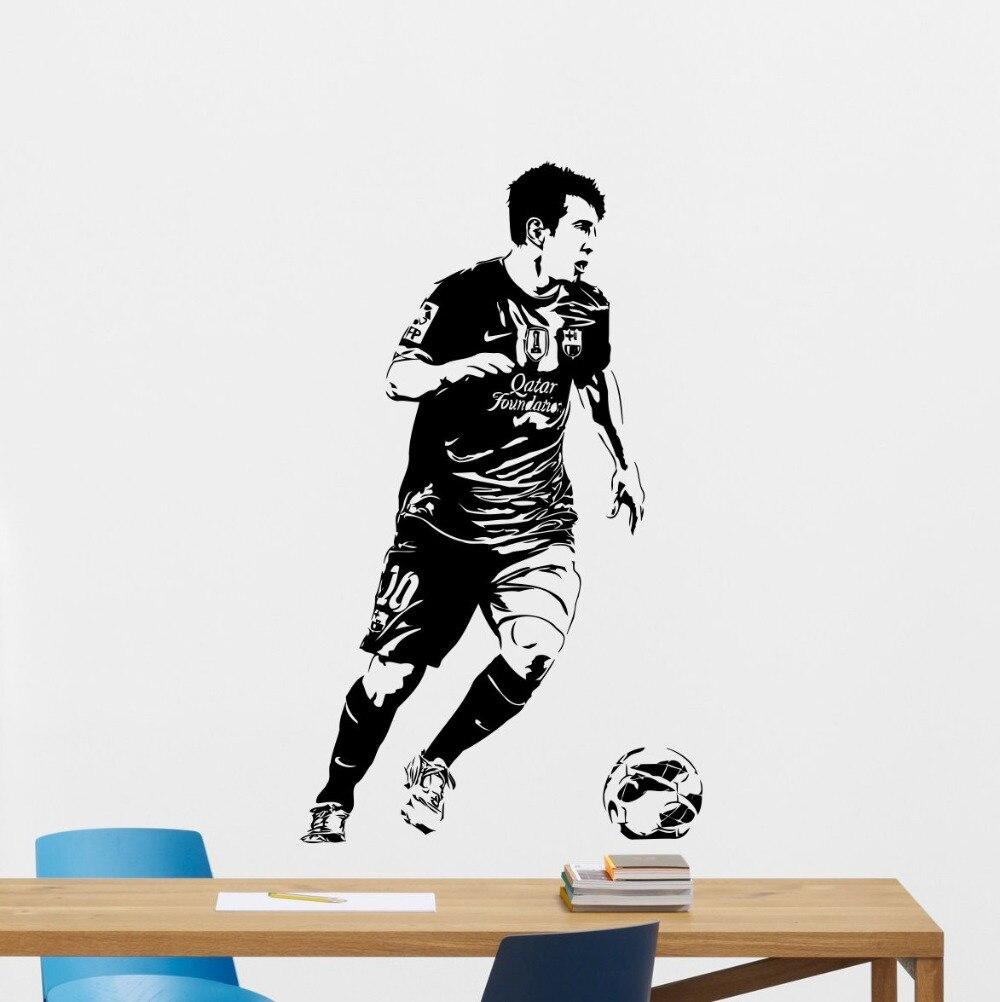 De course messi joueur de football stickers muraux pour enfants chambres vinyle art amovible intérieur stickers