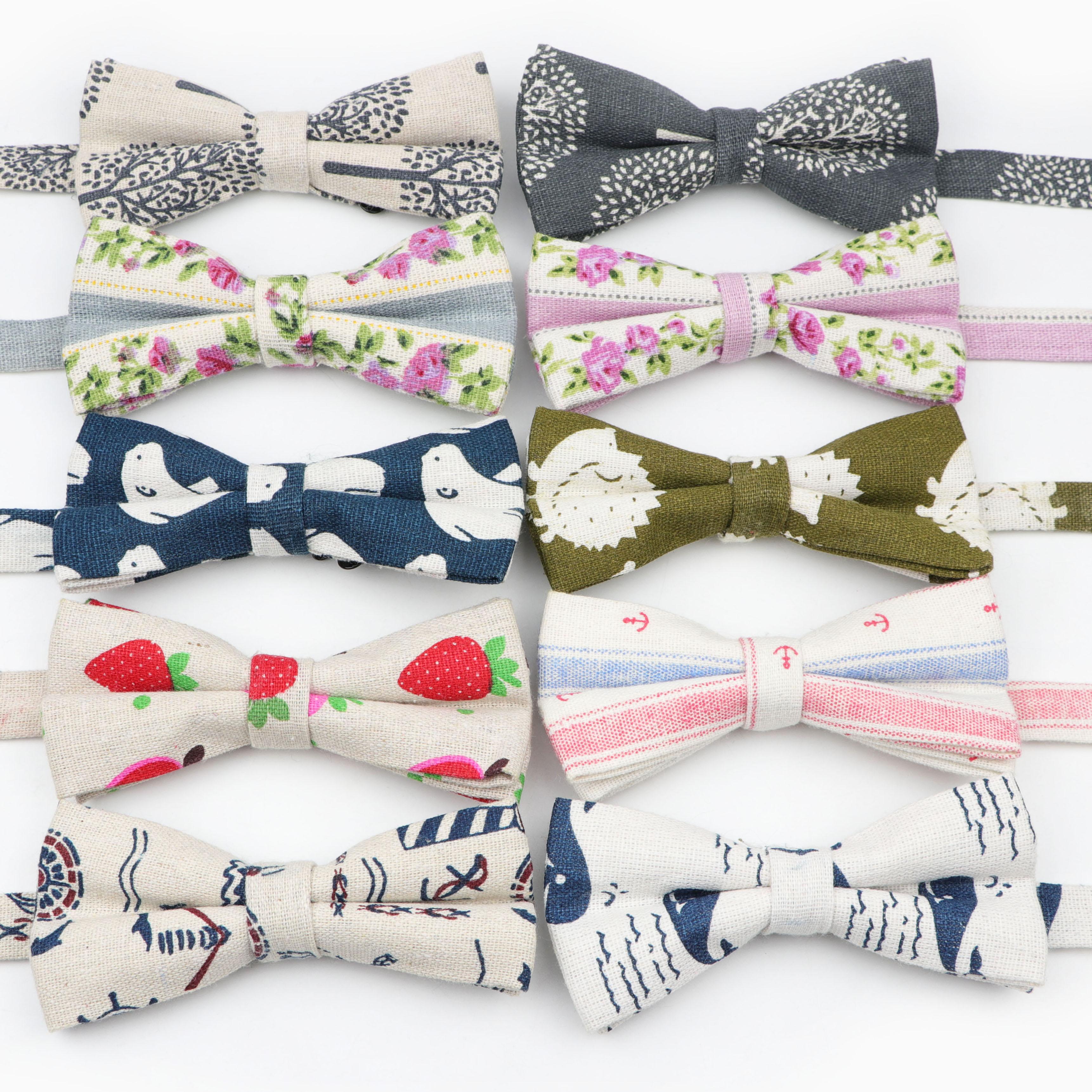 Lawny-nœud papillon en lin coton   Cravate lisse, motif décoratif motif papillon coloré, pour femmes hommes