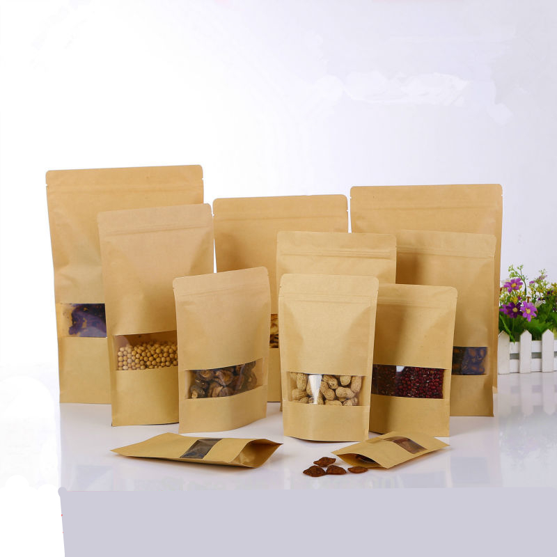 50pcs Food grade Kraft Paper Gift Bags Candy Packaging Recyclable Self Adhesive Seal Food Bread Shopping Party Bags for Boutique
