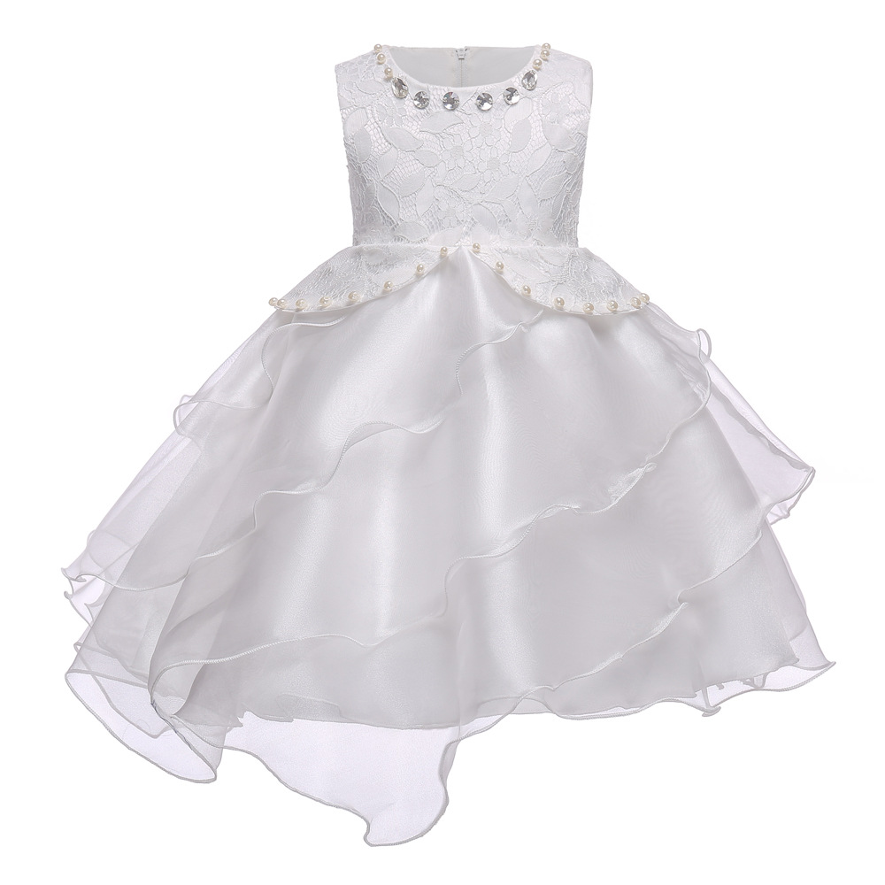 Children Party Beaded Wedding Dresses Popular Children Fancy White Lace Princess Dress Summer Kids Girl Sleeveless Bow tie Dress summer baby girl s dress cloth cherry blossom korean version sleeveless vest dress princess bow tie vestido
