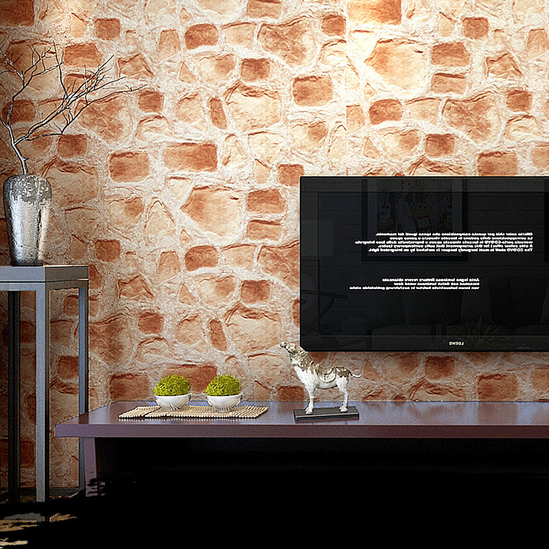 Vinyl Retro 3D Embossed Stone Wall Paper Roll Size Brick Wall Wallpaper For Living Room TV Background Waterproof Papel De Parede wholesale vintage mural 3d brick stone room wallpaper vinyl waterproof embossed wall paper roll papel de parede home decor 10m