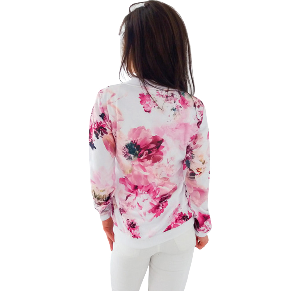 Women's Clothing 2019 Autumn Flower Floral Print Baseball Jacket Bomber Jacket Women Basic Coats Long Sleeve Top Streetwear Zipper Casual Outwear