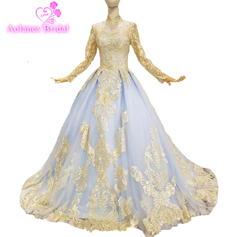 2018 Cheap Gold Lace Appliques Blue Tulle High Neck Prom Dress Ball Gown Long Sleeves Floor-length Illusion Evening Dresses Real