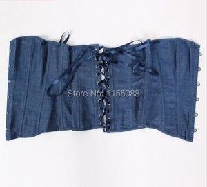 Image 5 - Dżinsy gorset kobiety odzież Sexy niebieski Denim gorset z koronkowe stringi gorset topy do noszenia