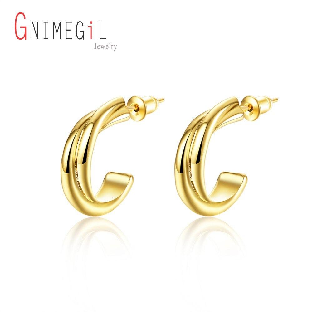 ▻GNIMEGIL clásico oro Color semicírculo media ronda Stud pendientes ...