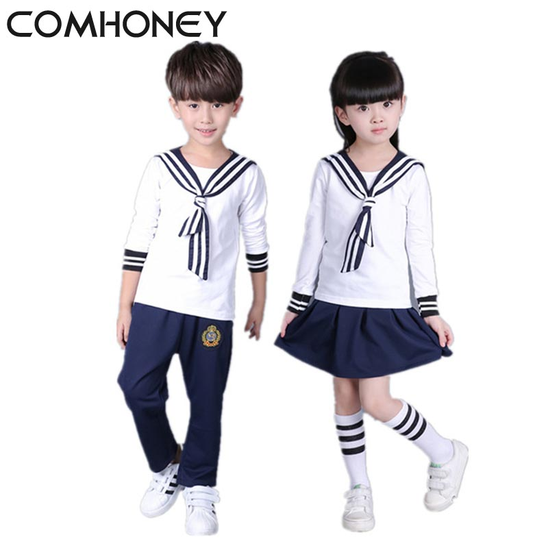 Girls Sport Suit Sailor Shirt Boys 3pcs t shirt+Tie+Skirt Kids Preppy Striped School Uniform For Girls Navy Sailor Boys Clothes kinlong w6132785 interior door lock 304 stainless steel lever handle locks mechanical anti theft