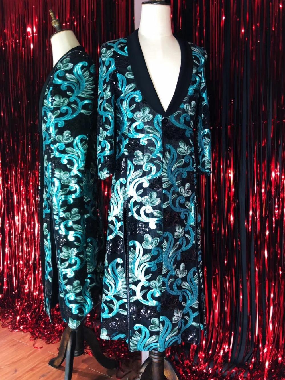 Big Size S-4XL Lelaki Embroidery Jacket Long Design Coat Penyanyi - Pakaian lelaki - Foto 6