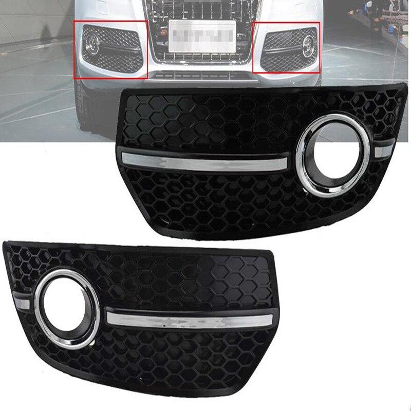 Couvercle antibrouillard en nid d'abeille pour 2009 2010 2011 Audi Q5 S ligne Style Chrome pare-chocs Grille antibrouillard ensemble de couverture