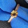 Clásico 925 de plata anillo de cristal de 6mm * 6mm de alta calidad natural citrino joyería de plata populares de la joyería para la mujer