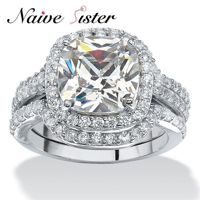 Luxury Female White Gold Ring Set Bridal Sets High Quality CZ Paved Jewelry Vintage Wedding Rings