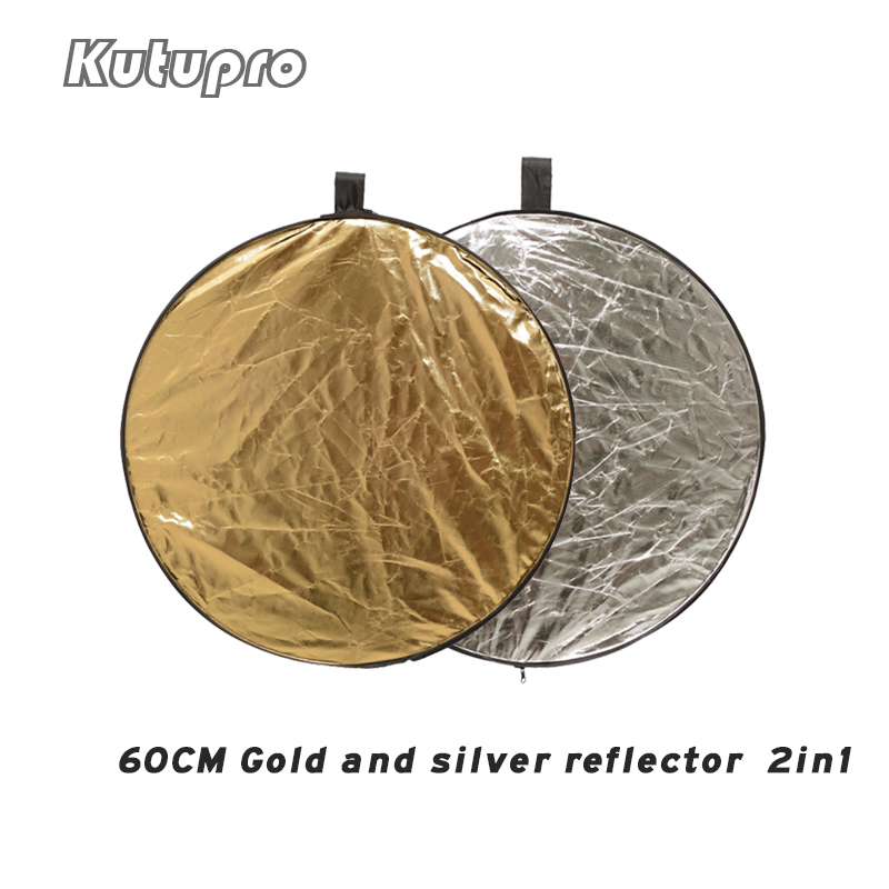 Pro 60cm 2 In 1 Round Flash Studio Collapsible Reflector Disc Silver Gold Reflector Photography Light Reflective For Photo Video