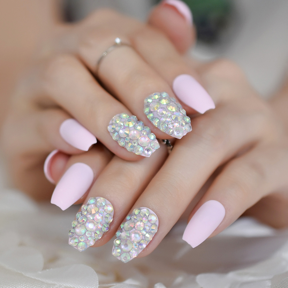 Diamond Coffin Frosted Nails Thistle Light Pink Color ...