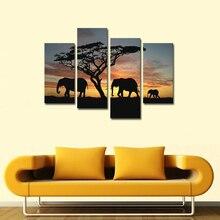 Painting Canvas Wall Art Prints Friendly Zebra Lovely Deer Elephant Animals Photo Artwork Home Decoration Frameless Gift