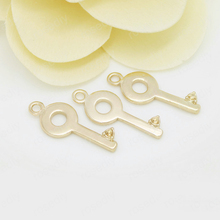 6PCS 9x24MM 24K Champagne Gold Color Plated Brass Key Charms Pendants High Quality Diy Jewelry Accessories