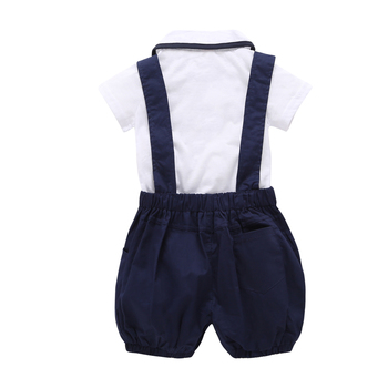 2019 Fashion baby boy clothes short sleeve white T shirt+pants+Bow tie 3cps gentleman baby clothing set newborn kid wedding suit