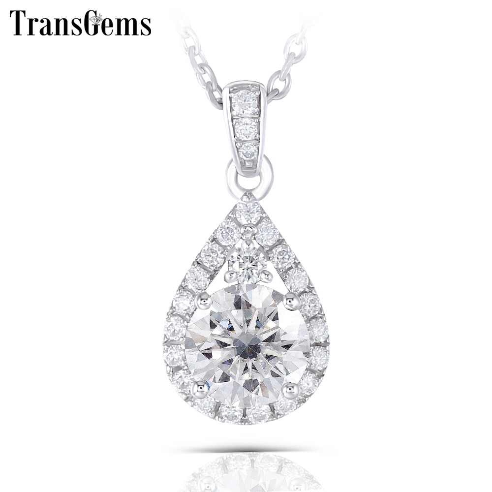 Transgems Thick Platinum Plated Silver Center 6.5mm GH color Moissanite Halo Pendant Necklaces with Accents for Women Jewelry