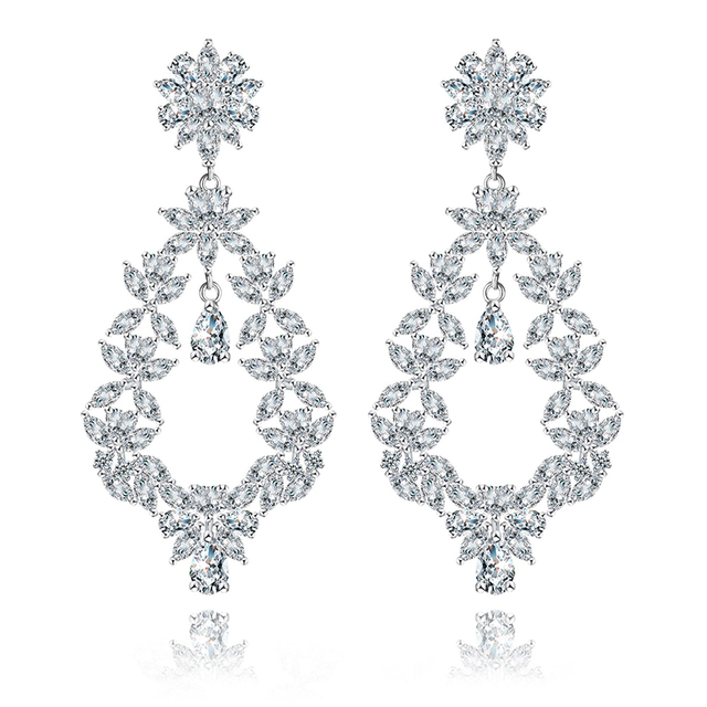 Xiumeiyizu silver wedding victorian style pattern teardrops dangle xiumeiyizu silver wedding victorian style pattern teardrops dangle earrings zircon crystal floral chandelier drop earring aloadofball Image collections