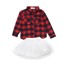Autumn new fashion kid girls clothes set Black red plaid blouses +white princess tutu skirts cute Kids Baby Girls Outfits Set(China)