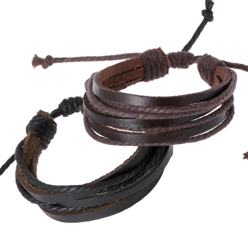 Pleciony regulowany skórzane popularne bransoletka na mankiet kobiety męska na co dzień biżuteria