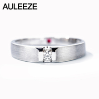 AULEEZE Classic Diamond Male Rings 0.07ct Real Diamond Natural Ruby Weddings Band in 18K White Gold Fine Jewelry