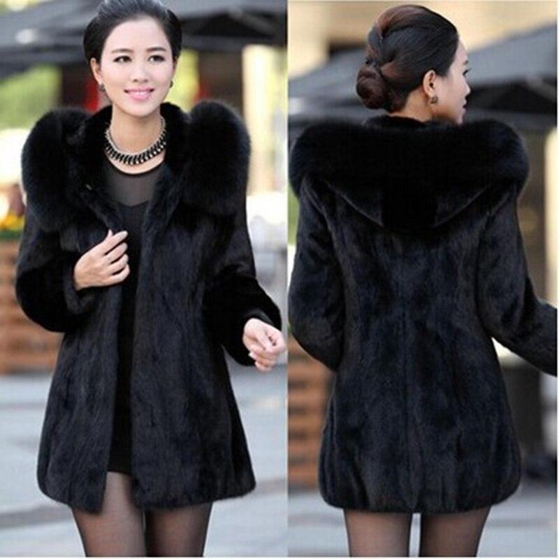 Plus Size S-4XL Faux Fur Coat Female Hooded Winter Long Coats Womens Winter Coat Elegant Female Jacket Black Long Coats Women