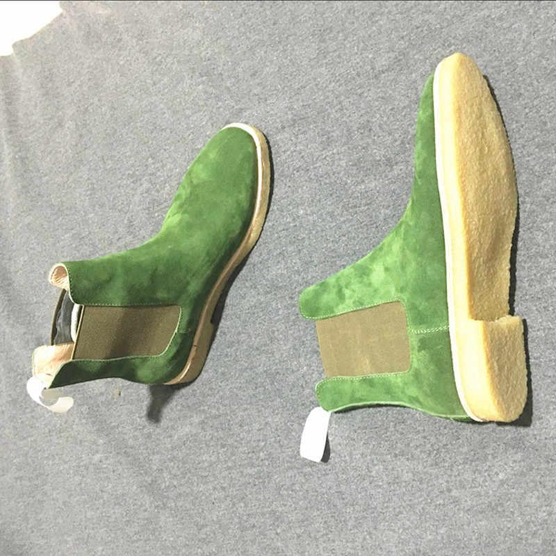 Handgemaakte Luxe Merk Koe Lederen Herfst Winter Mannen Laarzen Mode Wees Teen Bruiloft Chelsea Laarzen Vintage Motorlaarzen
