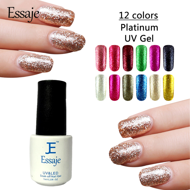 Essaje Nail Foil glue Shining Glitter Platinum UV LED lucky Gel ...
