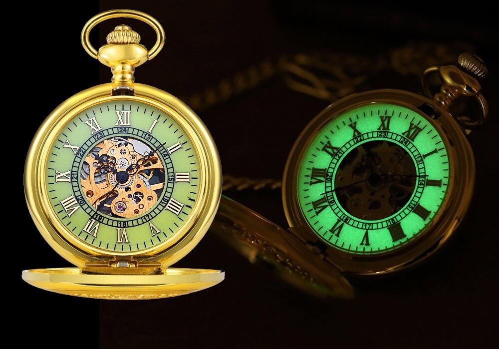 Steampunk Mechanical Pocket Watch Men Retro Pendant Watch Chain Vintage Necklace Mechanical Hand Wind Clock Pocket Watch Gifts 23