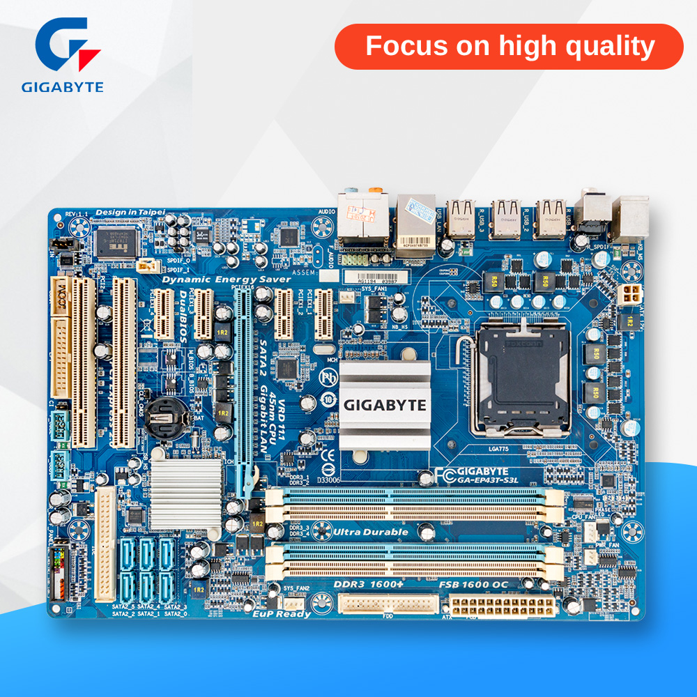 Gigabyte GA-EP43T-S3L Original Used Desktop Motherboard EP43T-S3L P43 Socket LGA 775 DDR3 ATX On Sale high quality desktop motherboard lga 775 ddr3 ga g41mt s2pt motherboard